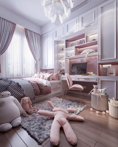 北欧风格榻榻米女孩房 儿童床 书桌