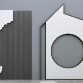新中式背景墙组合3D模型【ID:236223776】