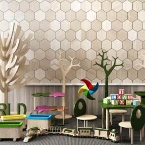 现代儿童玩具边柜摆设组合3D模型【ID:335765489】