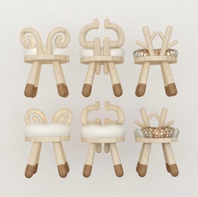 北歐動物犄角兒童椅子座椅3D模型【ID:745366722】