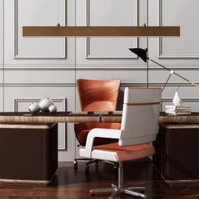 现代美式办公桌椅3D模型【ID:945488168】