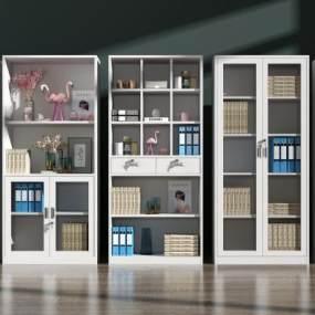 现代书柜文件柜组合3D模型【ID:150476544】