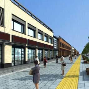 现代二层沿街商业街步行街3D模型【ID:131790698】