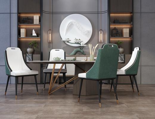 新中式餐�d桌椅就�@��邮植�d背景��3D模型【ID:741773157】
