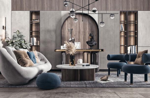 现代双人沙发 配饰