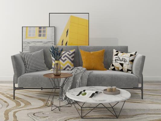 北欧现代沙发茶几挂画组合3D模型【ID:642690651】