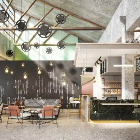 现代咖啡厅组合 3D模型【ID:641408383】