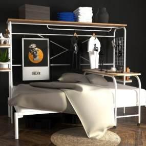 白色鐵藝上下床高架床3D模型【ID:847097619】