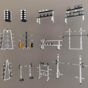 现代哑铃杠铃健身器材组合3D模型【ID:335458883】