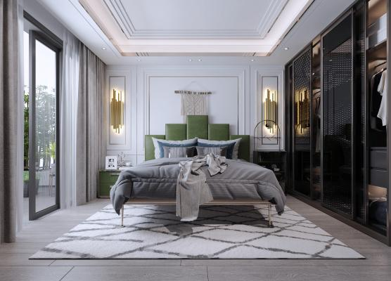 现代轻奢卧室3D模型【ID:553307256】
