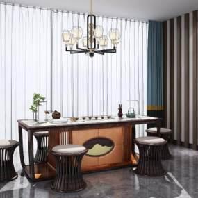新中式餐桌椅 3D模型【ID:841350939】