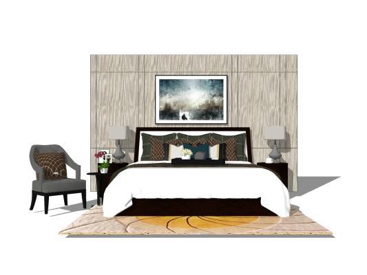 現代臥室床具組合SU模型【ID:545260293】