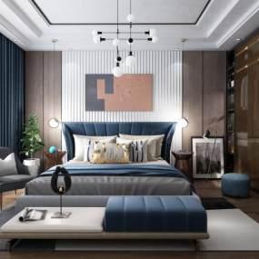现代卧室3D模型【ID:536204256】