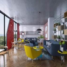 北欧风格咖啡厅3D模型【ID:646104349】