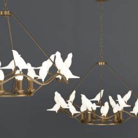 和平鸽金属吊灯 3D模型【ID:741362887】