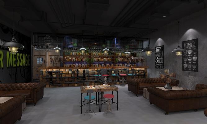 工业风酒吧3D模型【ID:843395079】
