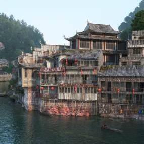 傳統中式古代建筑3D模型【ID:134420481】