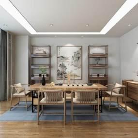 新中式茶室3D模型【ID:645629150】