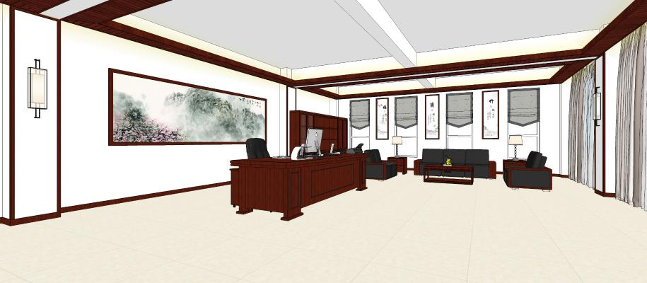 現代領導辦公室SU模型【ID:347845110】