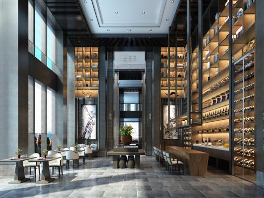 新中式酒店會所3D模型【ID:733511287】