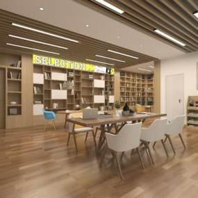現代圖書館3D模型【ID:943692893】