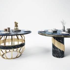現代輕奢金屬餐桌3D模型【ID:850885806】