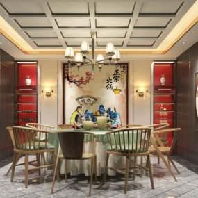 新中式��L格酒店3D模型【ID:642510888】
