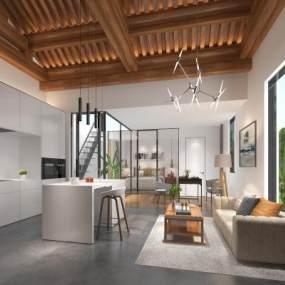 現代公寓客廳3D模型【ID:552620098】