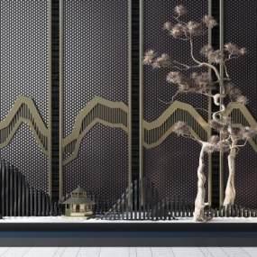 新中式假山屏风枯树组合3D模型【ID:635662391】