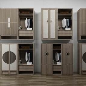 新中式衣柜组合3D模型【ID:132710459】