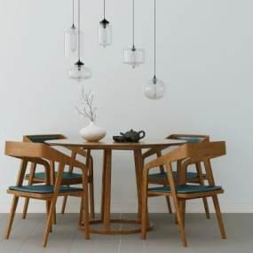 北欧餐桌椅3D模型【ID:836089874】