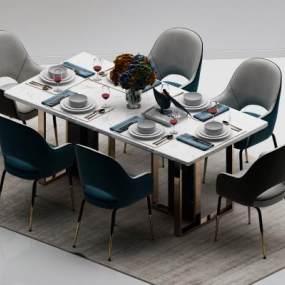 现代轻奢餐桌餐椅组合3D模型【ID:752973155】