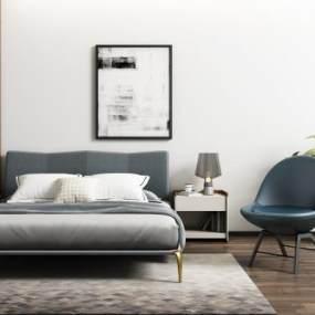 現代雙人床休閑椅組合3D模型【ID:848133768】
