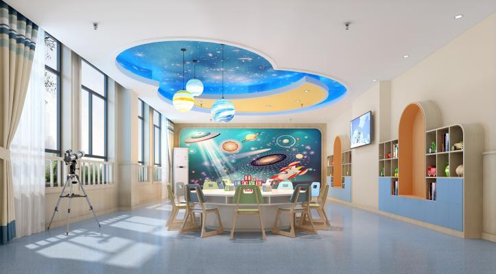 现代幼儿园科学发现教室 宇宙背景 星球艺术吊灯