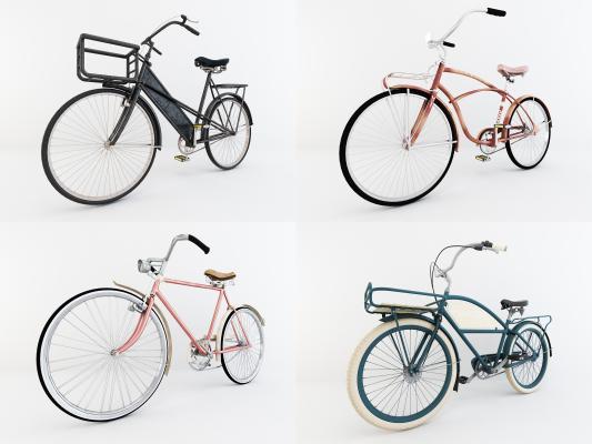 现代自行车单车交通工具3D模型【ID:435458689】