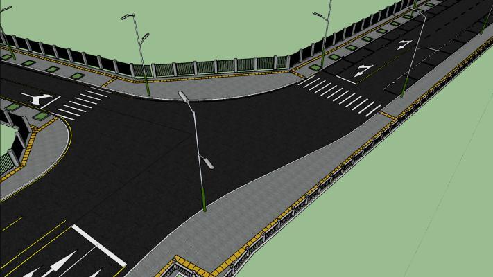 现代市政路口人行道SU模型【ID:346214021】