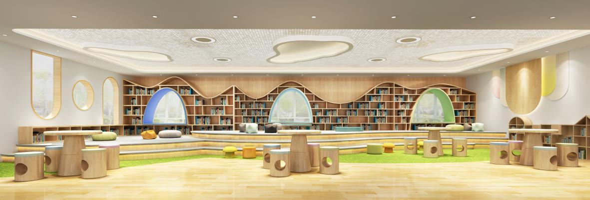 幼儿园图书馆3D模型【ID:942532855】