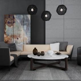 现代沙发茶几组合3D模型【ID:645510790】