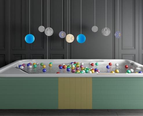 現代嬰兒游泳池游泳圈海洋球組合3D模型【ID:441292158】