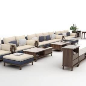 新中式客餐厅沙发茶几组合3D模型【ID:649205725】
