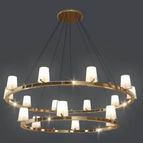 现代多头金属吊灯3D模型【ID:745611834】