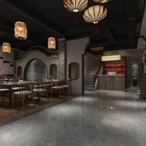 中式餐廳3D模型【ID:643862235】