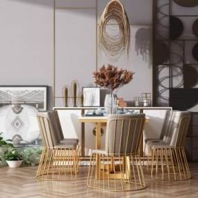 现代餐桌椅组合3D模型【ID:837612859】