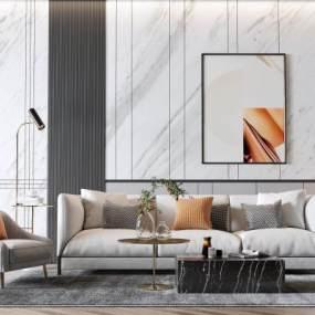 现代沙发茶几组合3D模型【ID:648400765】