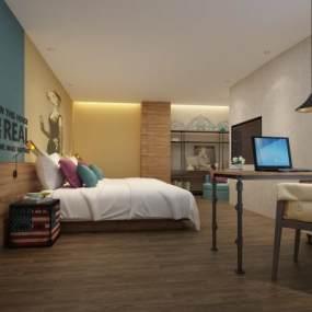 现代工业风酒店客房3D模型【ID:747300318】