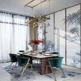 新中式時尚餐桌椅組合3D模型【ID:552599117】