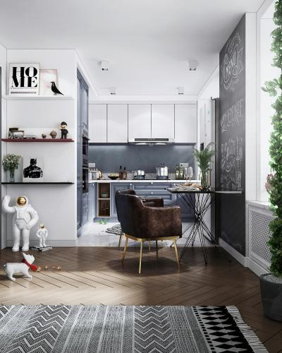 北欧风格厨房3D模型【ID:143155731】