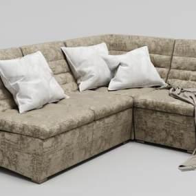 现代绒布沙发3D模型【ID:634688674】