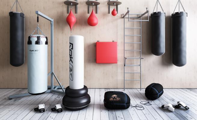 现代拳击袋沙包健身设备3D模型【ID:335458853】