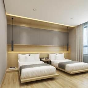 现代酒店客房 3D模型【ID:741567361】